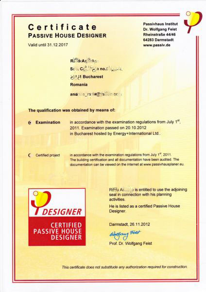 Certification Passive House Designer |